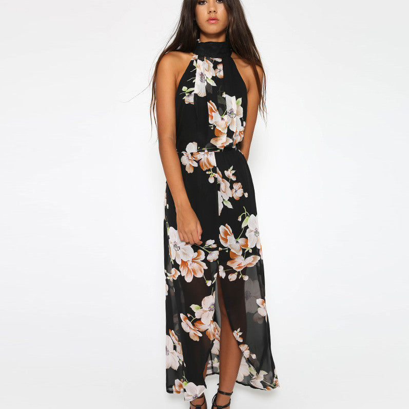 Backless Print Irregular Long Dress