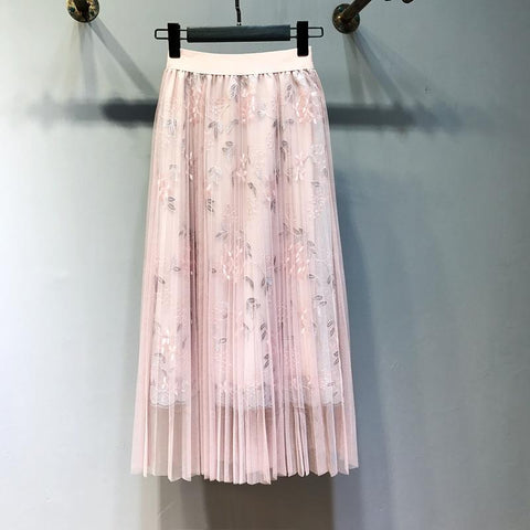 Embroidery Floral Pleated Lace High Waist Loose Long Skirt