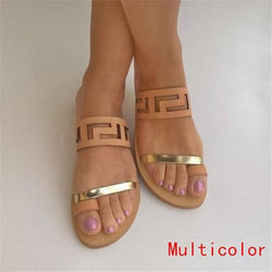 Thong Pure Color Cut Out Women Flat Beach Slipper Sandals