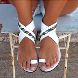 Pure Color Chunky Heel Flat Simple Slip-on Straps Women Beach Sandals