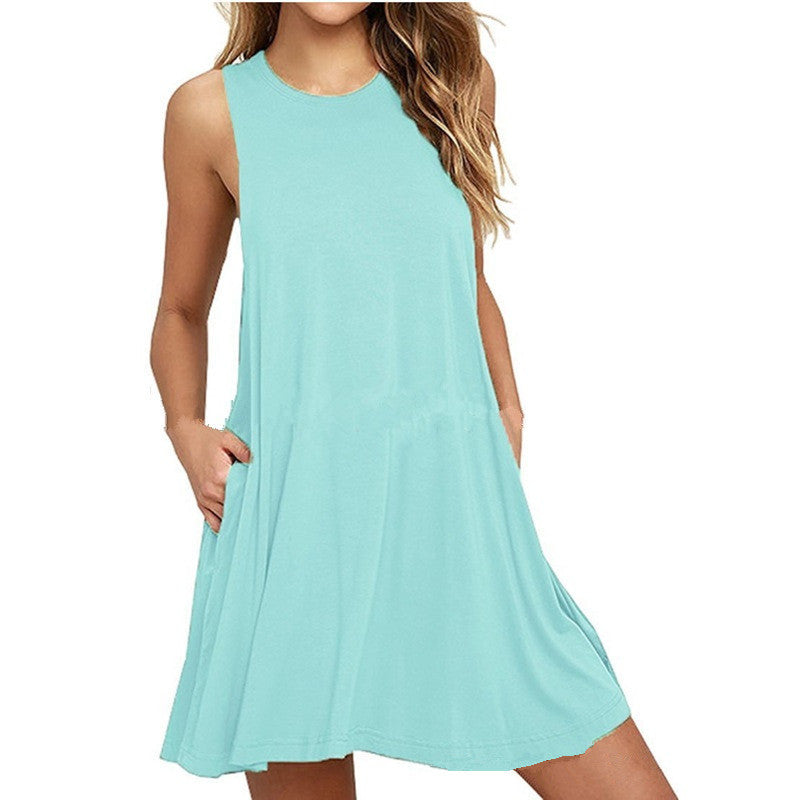 Scoop Pockets Pure Color Women Loose Short Dress