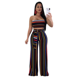 Stripe Strapless Crop Top with High Waist Long Wide-leg Pants Women Two Pieces Set