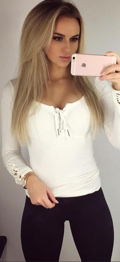 Sexy Lace Up V Neck Lace Cuff Long Sleeve Blouse - Oh Yours Fashion - 2
