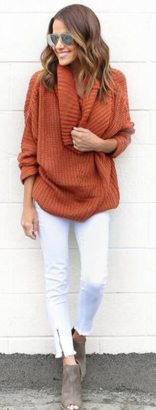 Turtle Neck Knitting Long Sleeves Loose Sweater - Oh Yours Fashion - 2