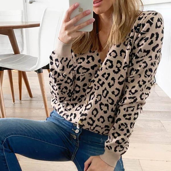 Slim Leopard V Neck Knitted Top