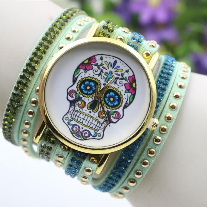 Beautiful Flower Skull Lint Bracelet Watch - Oh Yours Fashion - 1