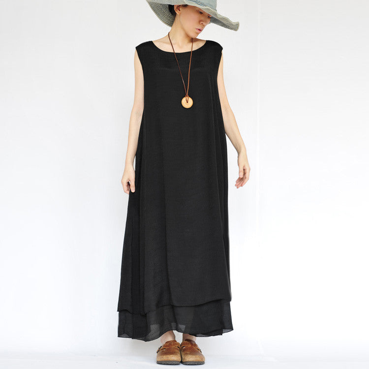 Pure Color Loose O-neck Sleeveless Long Dress - Oh Yours Fashion - 3