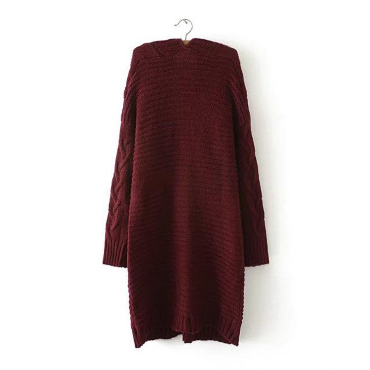 Cable Knit Two Big Pockets Oversized Women Cocoon Cardigan