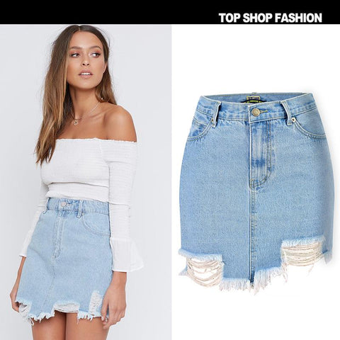 Holes Zipper High Waist Packets Tassels Irregular Slim Short Skirt