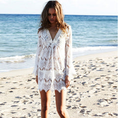 Hook Flower Hollow Out Beach White Short Dress - Oh Yours Fashion - 1