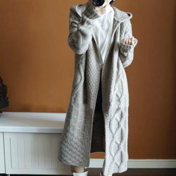 Cable Knitted Long Hooded Thick Cardigan