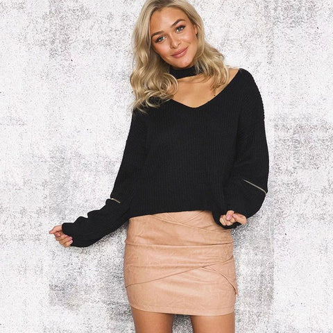 Sexy Halter Hollow Out Zipper Sleeve Sweater