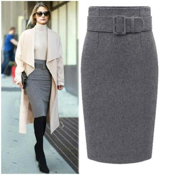Fashion Belt Buckle Pure Color Cotton Pencil Skirt - Oh Yours Fashion - 2