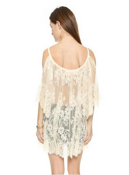 Short Half Sleeves One Shoulder Lace Sexy Beach Dress