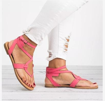 Pure Color Straps Thong Ankle Strap Women Flat Beach Sandals