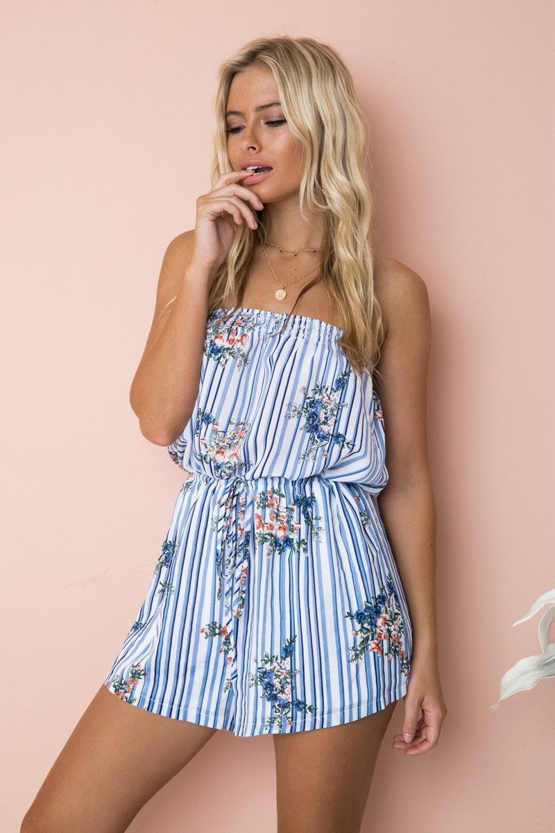 Loose Sleeveless Strapless High Waist Flower Print Short Jumpsuits
