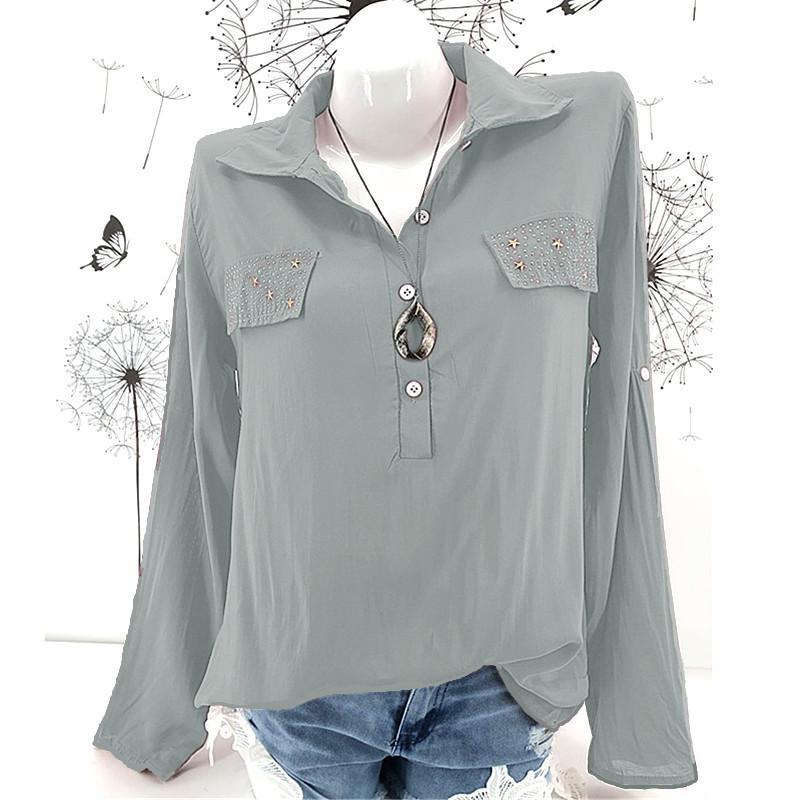 Loose V-neck Pure Color Long Sleeves Women Blouse