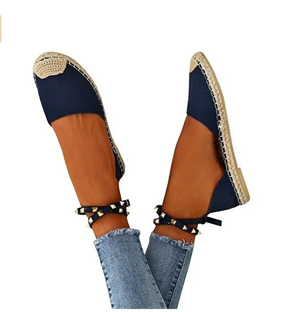 Patchwork Rivets Waves Flat Heel Round Toe Flats Plus Size Shoes