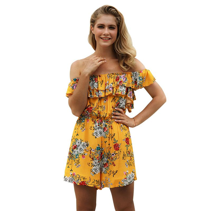 Loose Short Sleeves Off Shoulder Floral Short Jumpsuits