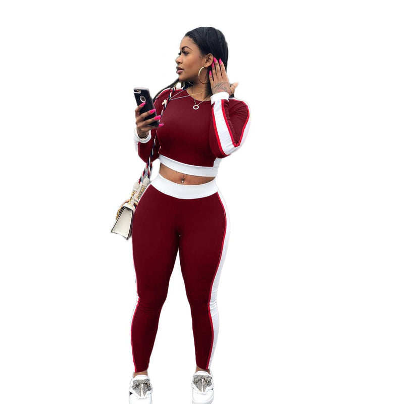 Color Block Crop Top with High Waist Long Skinny Pants Women Two Pieces Sports Set