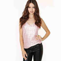 Shinning Sequins Spaghetti Strap Sleeveless Vest