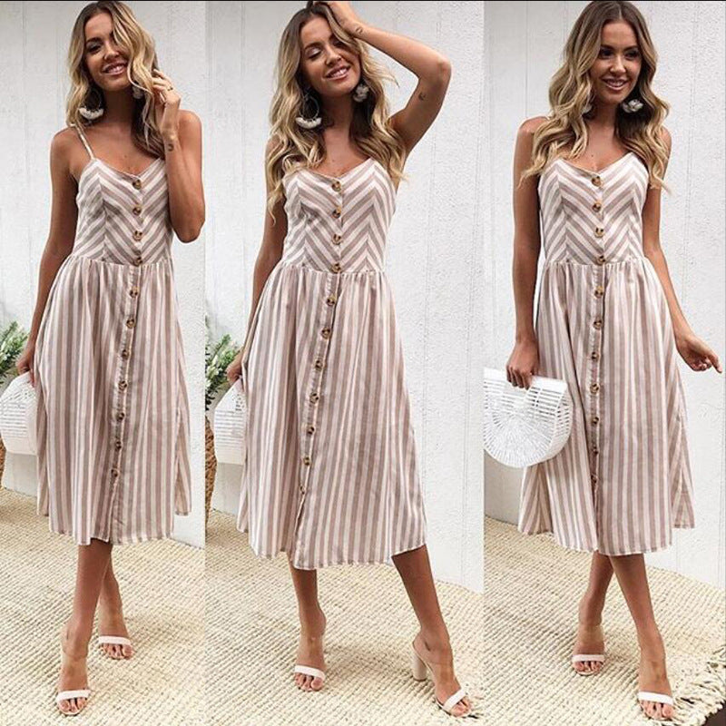 Stripes Spaghetti Straps Buttons High Waist Women A-line Tee-length Dress