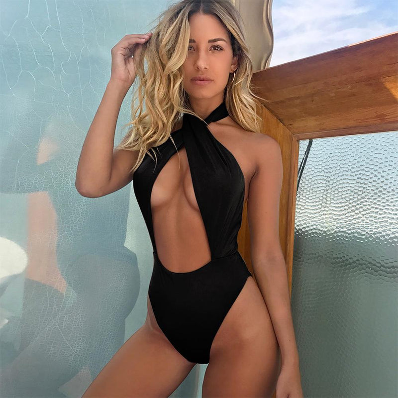 Straps Bandage Halter Backless One Piece Swimwear