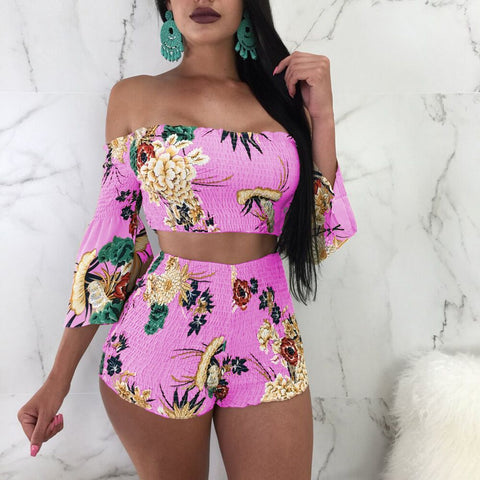Print Strapless 3/4 Trumpet Sleeves Crop Top with High Waist Shorts Women Two Pieces Set