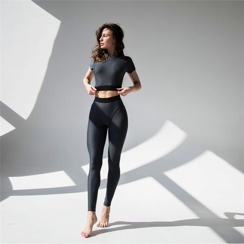 Patchwork Cropped T-shirt with High Waist Leggings Women Yoga Sports Two Pieces Set