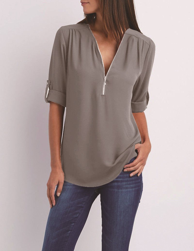 V-neck Candy Color Front Zipper Long Sleeves Loose Blouse