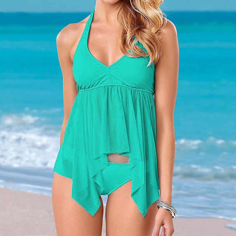 Deep V-neck Straps Low Waist Two Pieces Swimwear