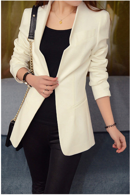 Shoulder Pads Long Sleeves Slim Short OL Blazer - Oh Yours Fashion - 6