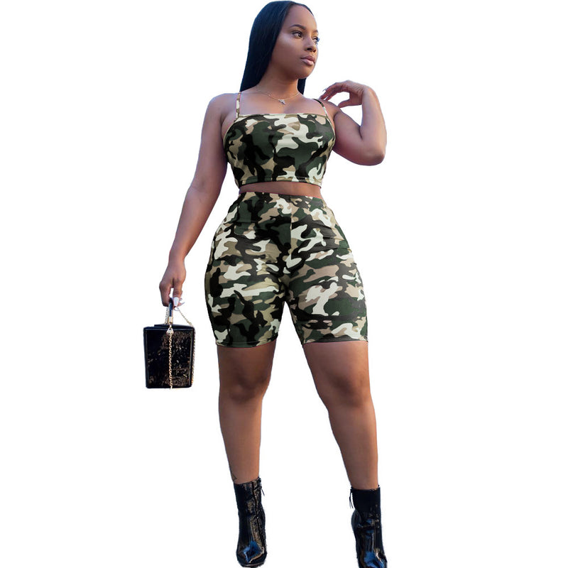 Camouflage Spaghetti Straps Crop Top with High Waist Shorts Women Two Pieces Set