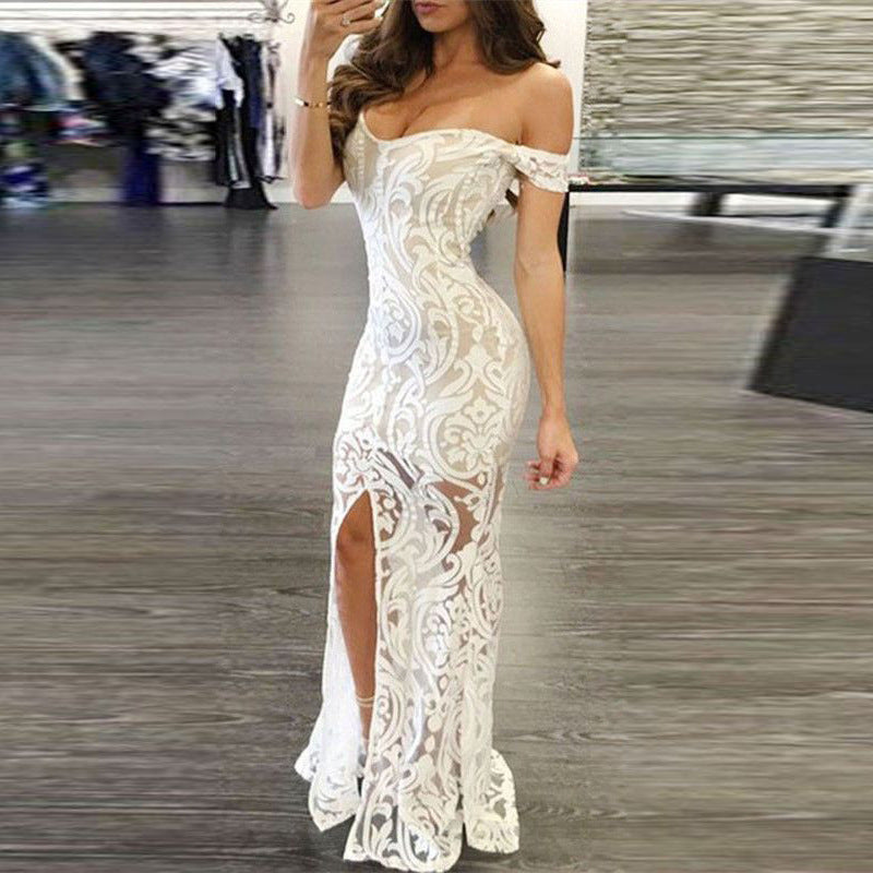 Off the Shoulder Transparent Split Women Long White Party Dress
