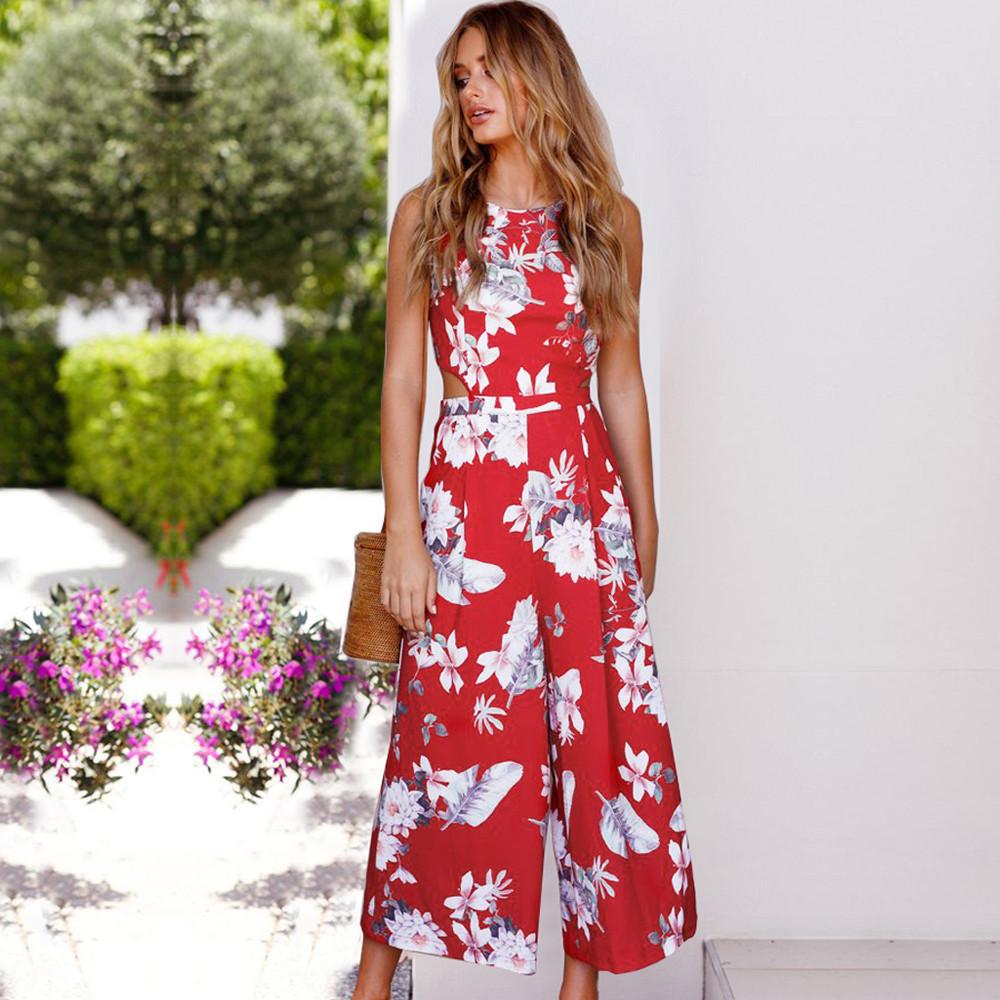 7f547ab8fc Loose Sleeveless Open Back Lace Up High Waist Flower Print Long Wide-leg  Jumpsuits