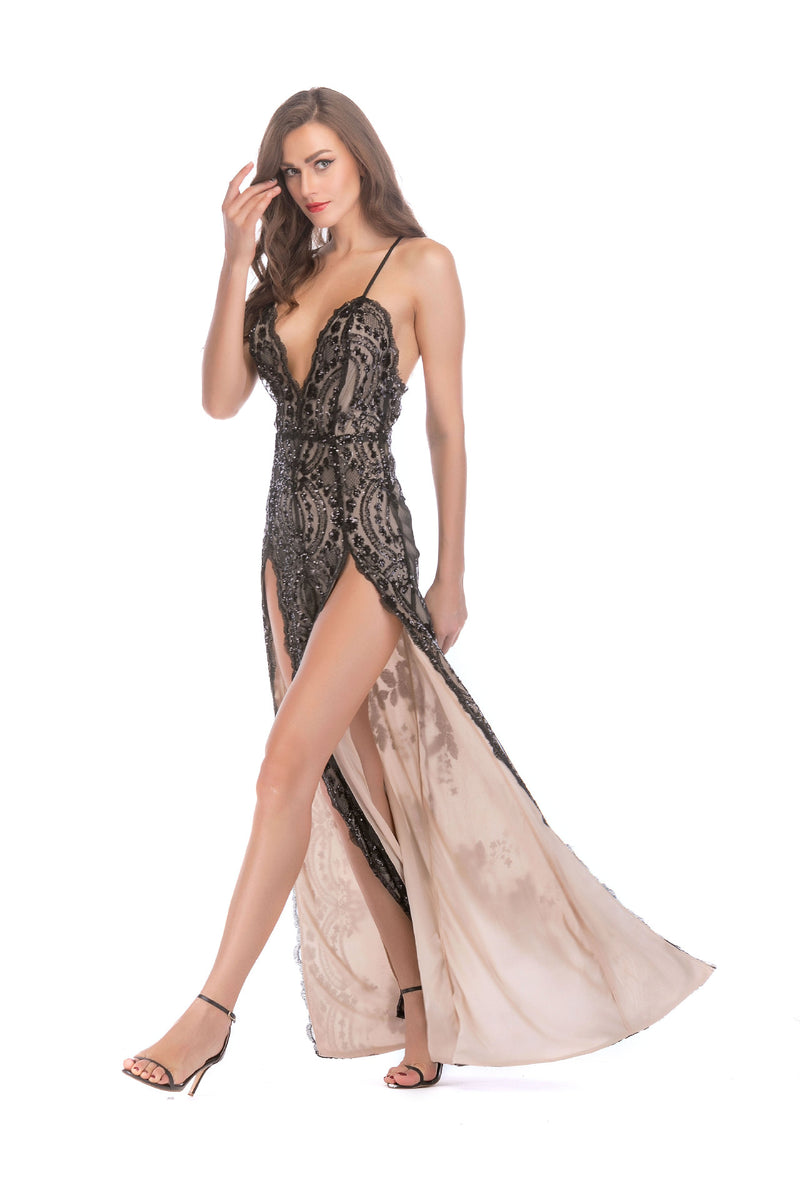 V-neck Spaghetti Straps Sequins Split Backless Long Party Dress