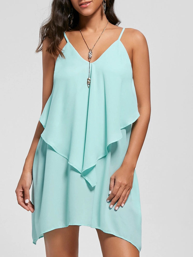 Spaghetti Straps Ruffles Loose Women Short Chiffon Dress