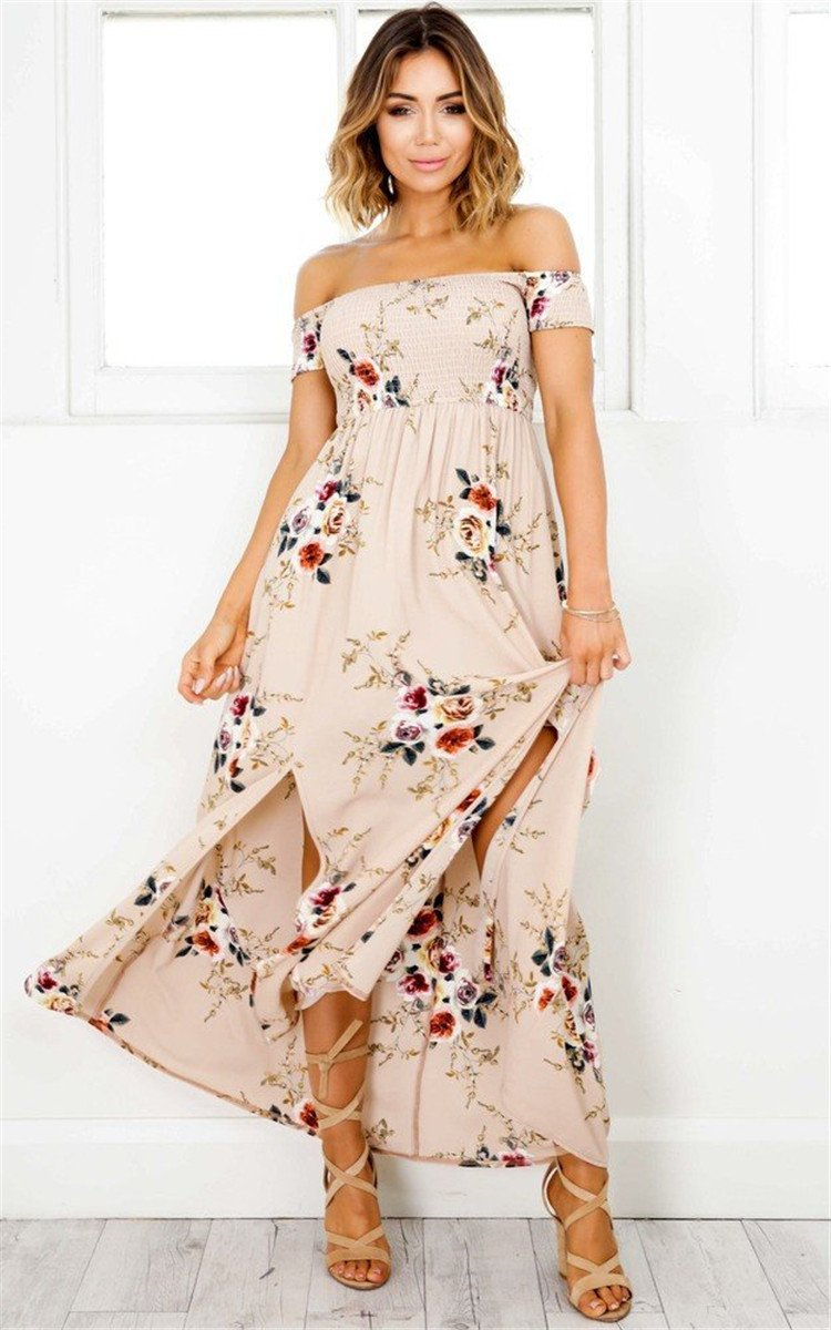 Floral Print Bohemian Off Shoulder Long Beach Dress