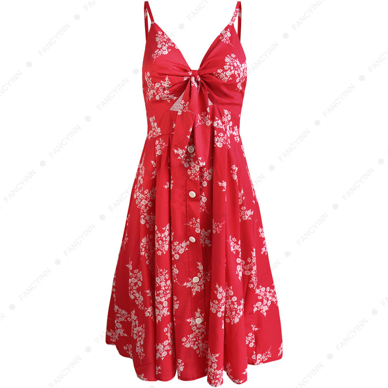 Print Spaghetti Straps High Waist Women A-line Knee-length Dress