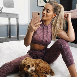 Bare Shoulder Drawstring Crop Top with High Waist Long Pants Two Pieces Sports Set