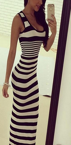 Striped Sleeveless Sheath Bodycon Low-cut Long Sexy Dress - Oh Yours Fashion - 2
