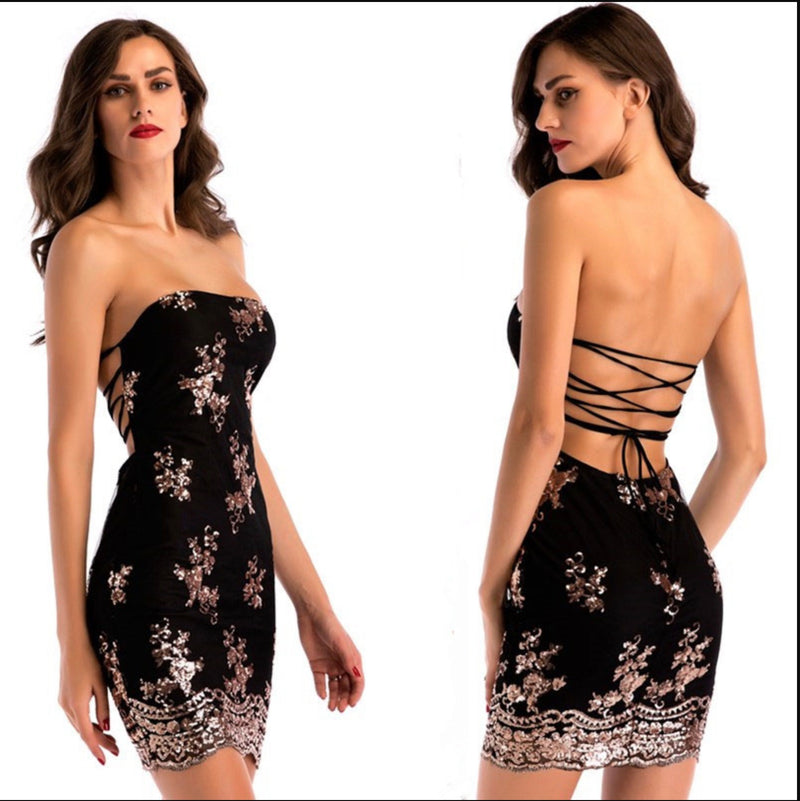Black Strapless Sequin Backless Strappy Mini Dress