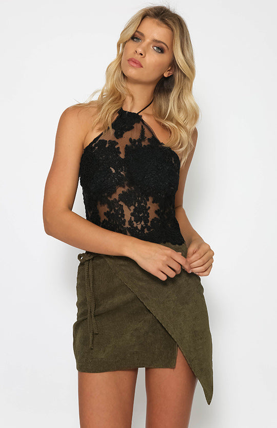 Sexy Lace Patchwork Halter Vest Crop Top