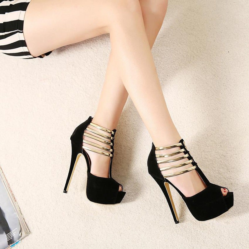 Exquisite metal leaves Decorate Peep-Toe Chic Black Sandals