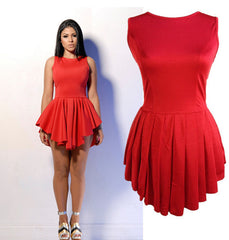 Sleeveless Falbala Scoop Short Sexy Dress