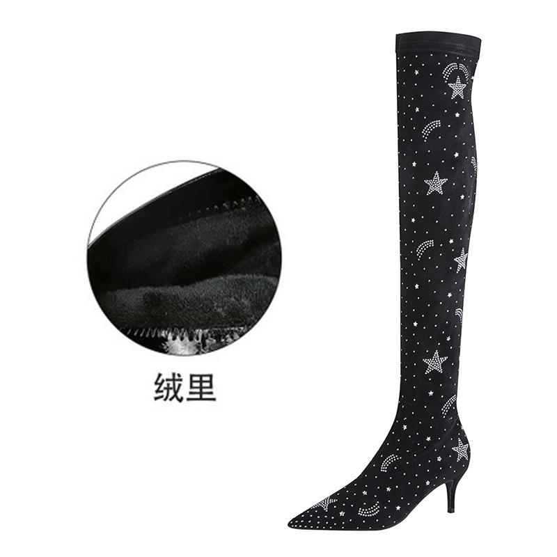 Pointed suede water drill Knee Boots