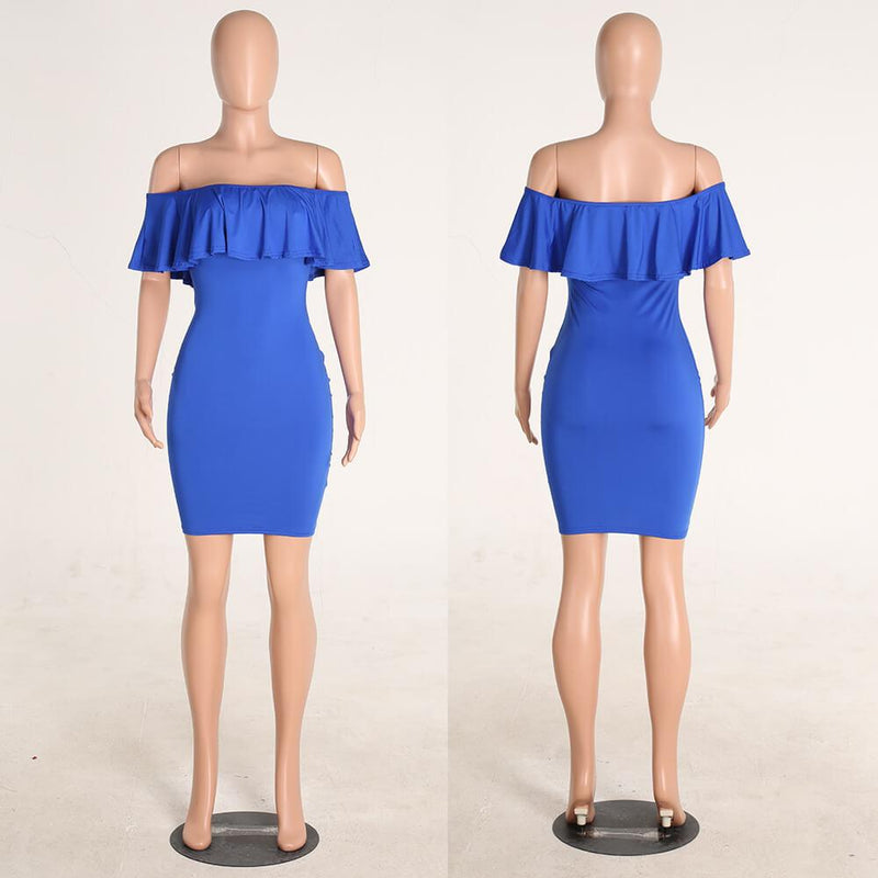 Strapless Ruffles Sleeveless Bodycon Short Dress