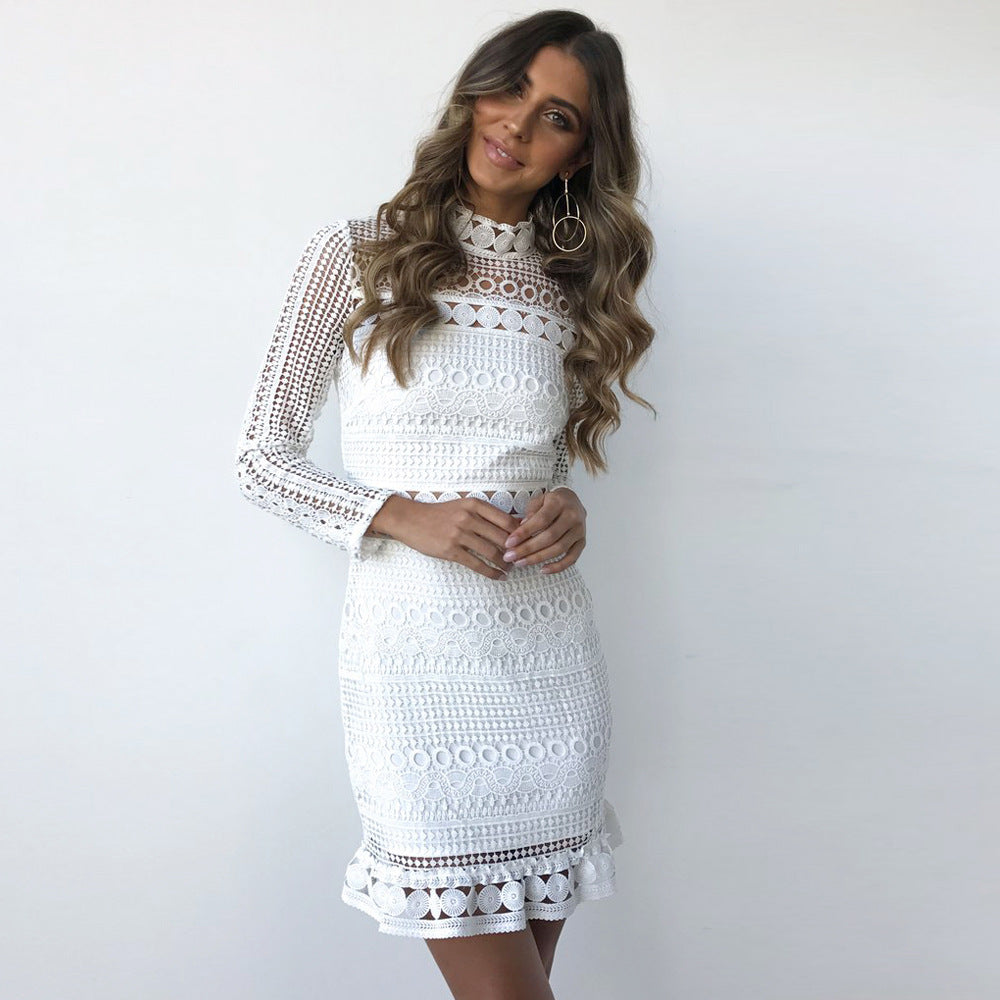 eec18273d9596 Sexy Long Sleeve High Neck White Lace Bodycon Party Dress – Oh Yours ...