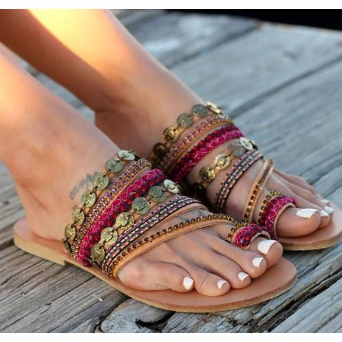 Hand Made Bohemian Beads Weave Women Slipper Thong Beach Sandals