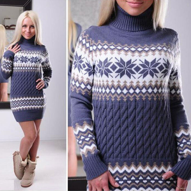 Fashion Long Sleeve High Neck Print Long Knit Sweater - Oh Yours Fashion - 2